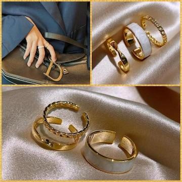 3個セット ゴールドカラー フリー 開口 リング 指輪◆同梱にも