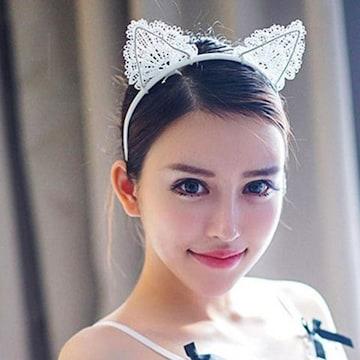 新品【7354】白☆猫耳レースの可愛いカチューシャ