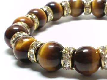 タイガーアイ虎目石×金ロンデル10ミリ数珠