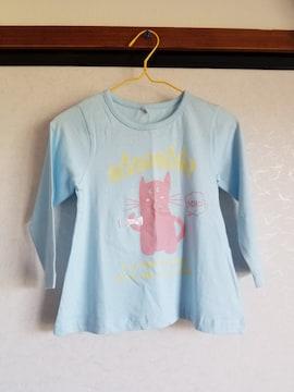 水色にネコ柄リボンつき長袖Tシャツ95