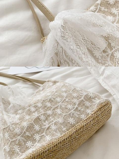 新品花レースリボン付かごトートバッグベージュレディース < 女性ファッションの