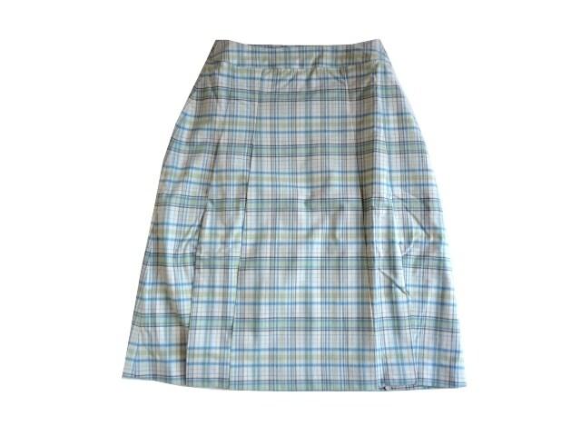 新品 TipTip 黄 緑 水色 チェック柄 スカート 膝丈 S 61 7号  < 女性ファッションの