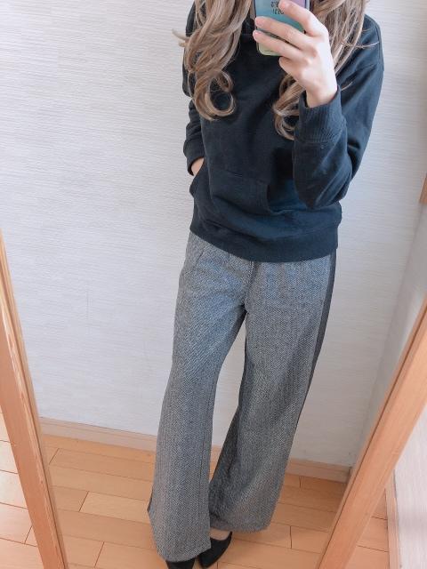 限定1000円セ-ル!雑誌掲載!サイドライン!ツイ-ドワイドパンツ!M < 女性ファッションの