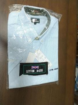 新品未着用★水色の半袖ストライプシャツ★Lサイズ