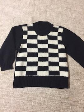 664.編み機☆黒白ブロック柄セーター