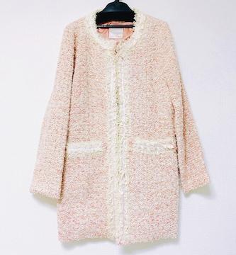 ピンクゴールドオフホワイトレースツイードジャケットコート新品