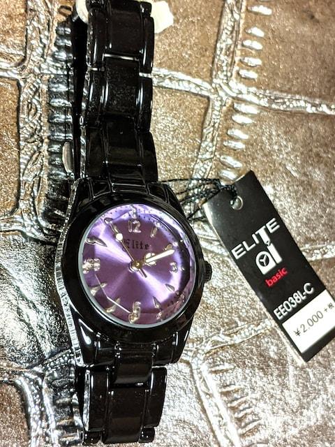 新品 ブランド 腕時計 レディース 黒  紫 ブラック パープル < 女性アクセサリー/時計の
