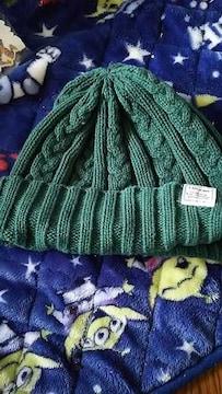 グリーン★シンプルニット帽