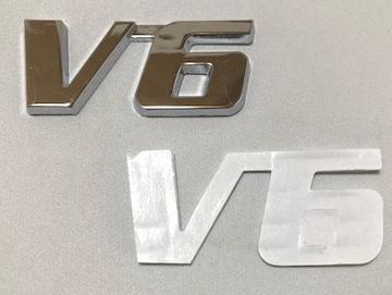 汎用V6金属3Dエンブレム シルバー ドレスアップ カスタム