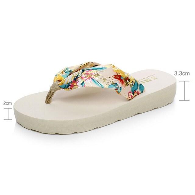 レディース 花柄 ビーチサンダル フラワーホワイト 36 23cm < 女性ファッションの