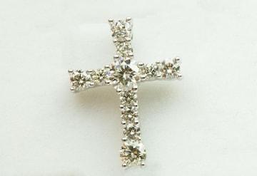 K18WG クロス 十字架 0.50ct ダイヤモンド ペントップ