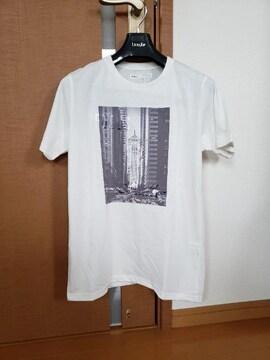 ikka イッカ フォトロゴ 刺繍 プリント半袖 Tシャツ ホワイト M