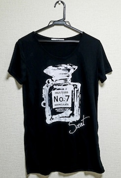 ☆送料無料☆GRL☆香水プリント/半袖Tシャツカットソー☆ブラック L☆新品☆