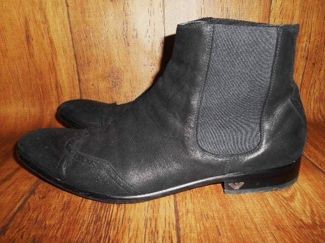 □エンポリオ アルマーニ サイドゴア ブーツ/メンズ/27cm☆黒 < ブランドの