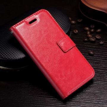 iPhone7 8 手帳型ケース レザー フォトフレーム フィルム レッド