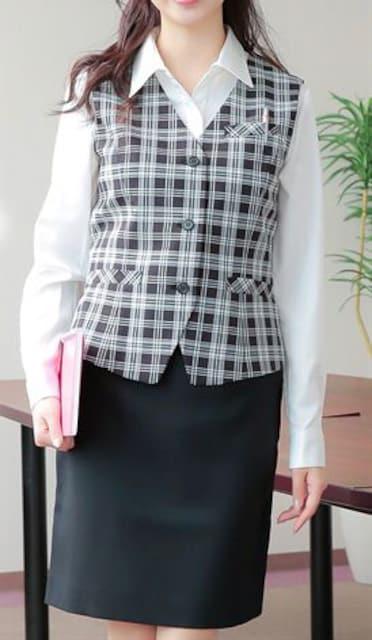 新品☆9号お仕事ベストスーツ温度調整!58�p丈黒チェック☆n300 < 女性ファッションの