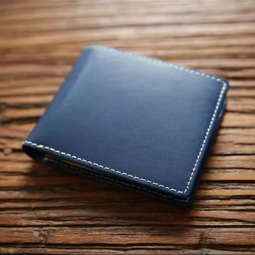 本革 イタリアンレザー 二つ折り 財布 コンパクト ブルー