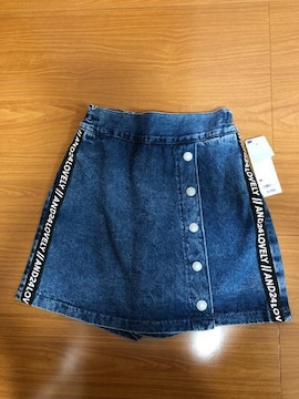 GU デニムサイドライン スカートパンツ M(150)新品