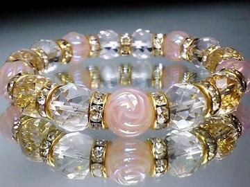 ゴージャス薔薇ローズ&64面カット水晶10ミリ金色ゴ-ルドロンデル