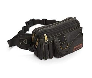 色ブラック ウエストバッグ ウエストポーチ 大容量 5ポケット メ