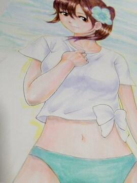 自作イラスト カラー 原稿 オリジナル 女の子 水着