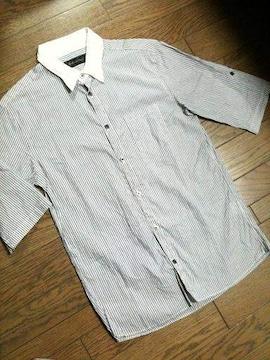 美品Lounge Lisard  5分丈ストライプシャツ 日本製