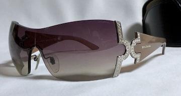 正規美限定 BVLGARIブルガリ パレンテシ×ストーン装飾サングラス パープル×茶系