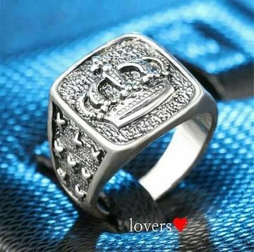 送料無料19号クロムシルバークラウン王冠スタンプリング指輪
