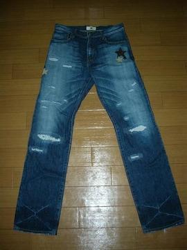 マーブルズMARBLESダメージ加工デニムS星☆レザーパッチ革TMT