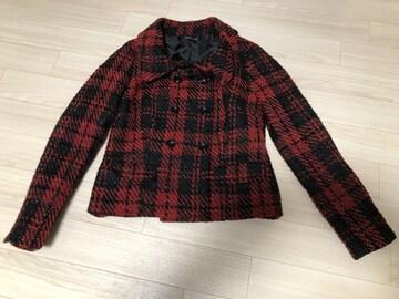 新品タグなし ツイードジャケット 赤×黒