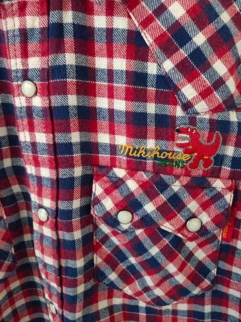 中古 mikihouse JEANS 男の子 恐竜 ウエスタン ネルシャツ 140 < ブランドの