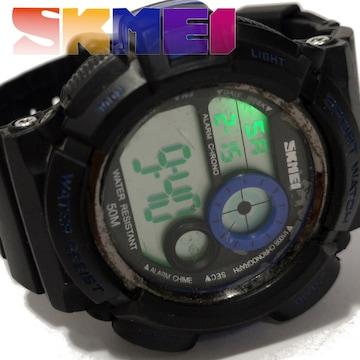 良品【980円〜】SKEMI タフなデザイン 大型メンズ腕時計
