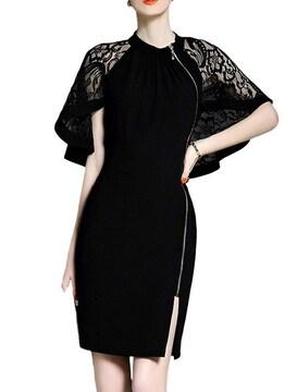 レースケープ サイドジッパー付きドレス(S寸・黒)