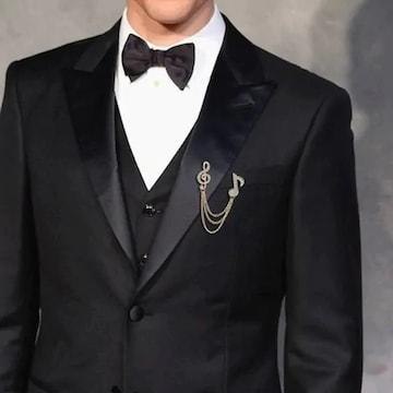 BIGセール★超人気 スーツに似合う音符記号ブローチ銀