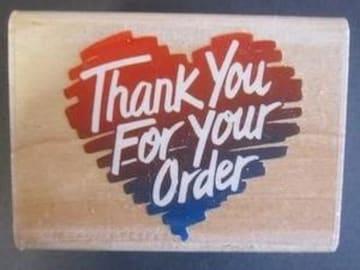 海外中古輸入ハートThank You For Your Orderラバースタンプ