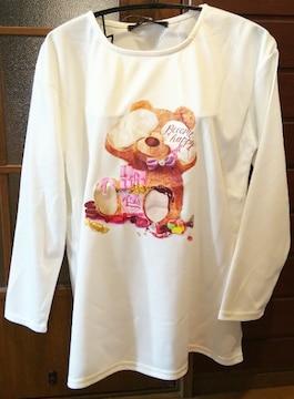 量産型ファッション病みかわテディベアくまクマロングTシャツロンT長袖大きいサイズLL