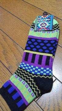 新品★「エスニック調 靴下�A」黒系〜 =サイズ25〜27�p