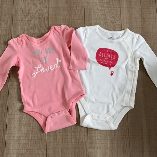 baby Gap女の子ベビ長袖ロンパ美品2個セット6-12mインナー肌着  < ブランドの
