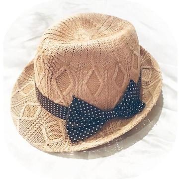水玉リボン付き麦わら帽子*中折れハット