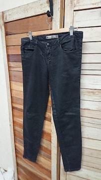 ザラ/ZARA TRF ブラックパンツ ストレッチ USA8 30 裾ジップ