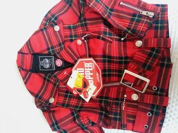 ヒスミニ ROCK 赤チェックライダースジャケット size95