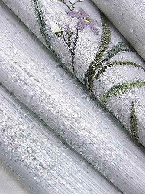 新品 仕立上り品 落ち着いた色合い 正絹スクイ織りの夏用袋帯 < 女性ファッションの