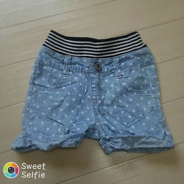 ドット×デニム風 ショート パンツ ズボン 100cm