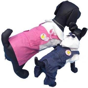 j05)Lサイズ!バッジ付ワンピースつなぎピンク犬服セレブリボン