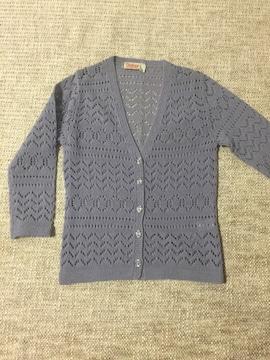 716.かぎ編み七分袖カーディガン☆ラベンダー140センチ