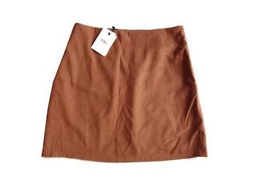 新品 GRL グレイル 茶 台形 ミニ スカート 無地 レディース