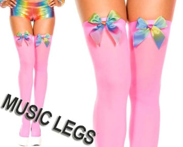 A170)MusicLegsレインボーリボンオペークサイハイタイツネオンピンク蛍光ダンサーダンス衣装