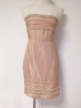ゴールドパールビジューベアパーティ結婚式ワンピースドレス