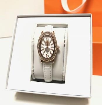 フォリフォリFolliFolli◎ピンクゴールド白ベルト腕時計◎新品