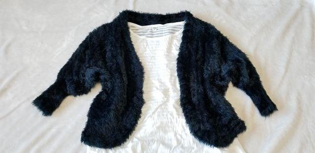 ★濃紺ネイビーふわふわ可愛いドルマン五分袖ニットカーディガン  < 女性ファッションの